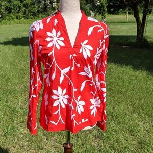 Talbots. Red tunic with white embroidered flowers.